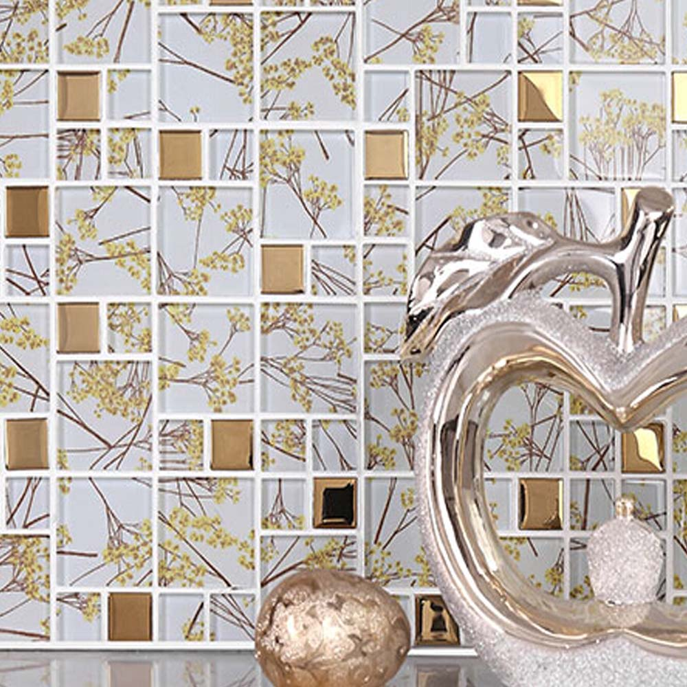 Gold Foil Mosaic Tiles Puzzle Kitchen TV Backsplash Wall Mosaic Tile Wall Stickers Tiles for Bathroom Living Room <br><br>Aliexpress