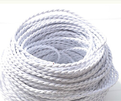 White color Double helix weaving cord  100% 2*0.75mm copper wire for lamp home, bar decorate electrical wire<br><br>Aliexpress