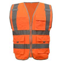 SFvest светоотражающий жилет безопасности жилеты Светоотражающие Мульти Карманы флуоресцентный желтый оранжевый разные цвета Варианты шелк...(China)