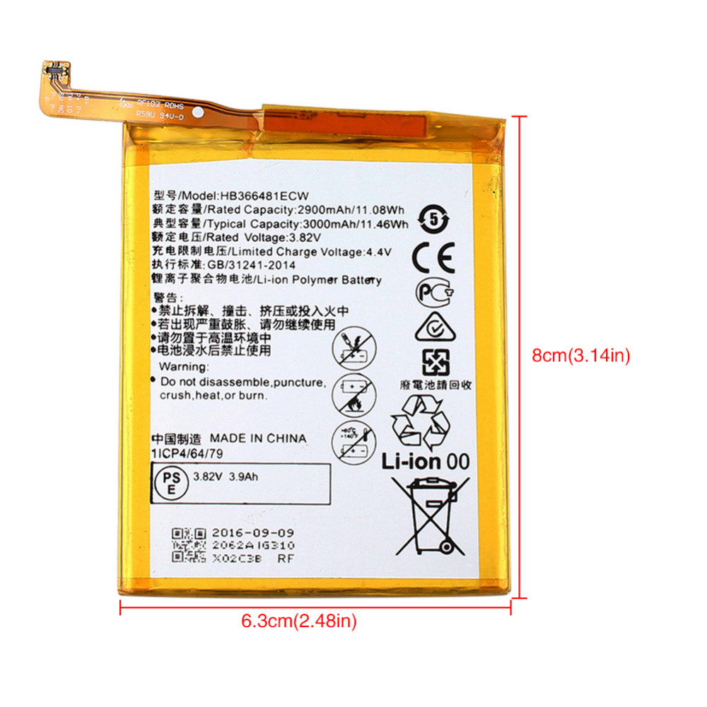 2900mAH Replacement Bateria Battery HB366481ECW For Huawei Ascend P9 cell phone with 8 in 1 Phone Machine Repair Tool Ket Set