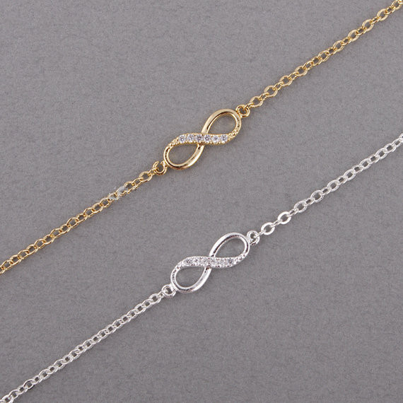 30 PCS/lot Fashion 18k gold plated bracelet Infinity symbol, number 8 hand catenary for women wholesale free shipping(China (Mainland))