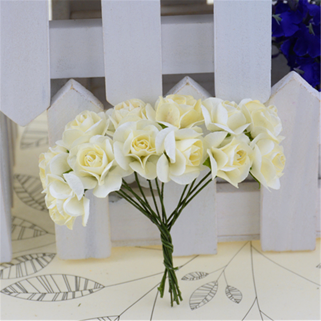 12pcs/lot Mini Paper Rose Handmake Artificial Flower Bouquet Wedding Decoration DIY Wreath Gift Scrapbooking Craft Fake Flower