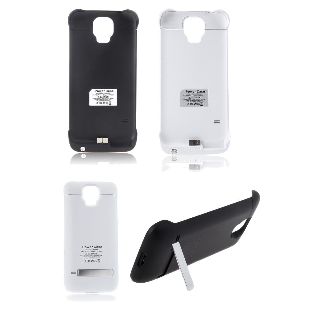 3200mAh Power Bank Backup Battery Charger Case Cover Stand Supply Samsung Galaxy S5 Black White - Smarcent (HK store Inc.)