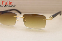 High Quality 3524012 Buffalo Horn Glasses With Gold Frames and Square Brown Lens Size 56-18-135mm