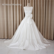 Satin with Bow Tie Pearl Beaded Wedding Dresses