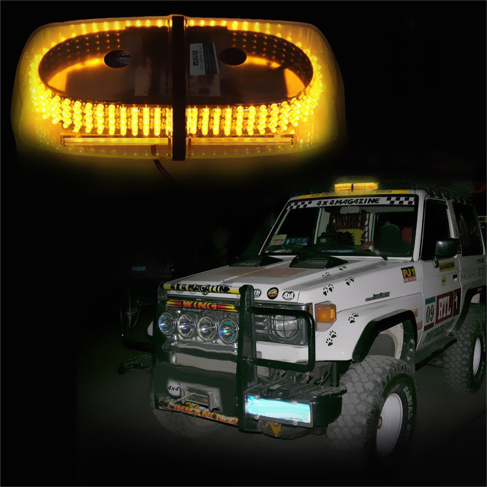 Long Lasting 12V 240LEDs Car Strobe Emergency Warning Mini Strobe Light Bar Magnetic Base(China (Mainland))