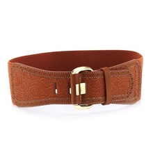 2016 Women New Design Fashion Brown Bow Beads Belt Waist Ladies Dress Alloy and Pu Pure Color Vintage Slim Embossing Belt(China (Mainland))