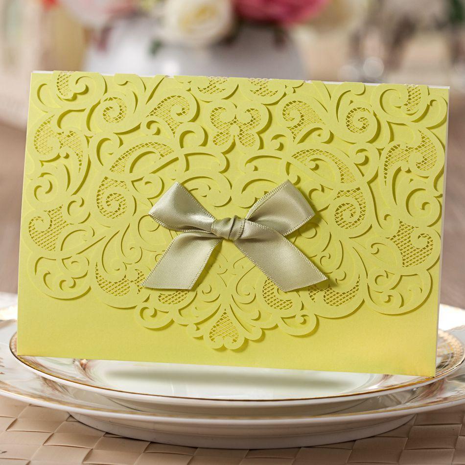 CW5091 Lemon Green Ribbon New Style Decorating Wedding Invitations Laser Cut Free Printing - Paper Spiritz store