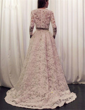 Buy 2017 Romantic Bohemian Beach Wedding Dresses Two Piece Line Crew Neck Long Sleeve Wedding Dress Vintage lace Boho Bridal Gowns for $190.00 in AliExpress store