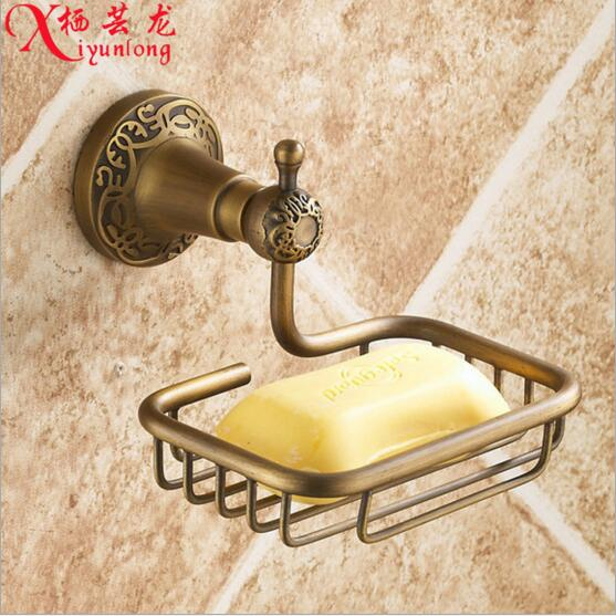 Bathroom accessories factory wholesale 100% copper antique carved soap holder toilet soap net drain into the wall soap network(China (Mainland))