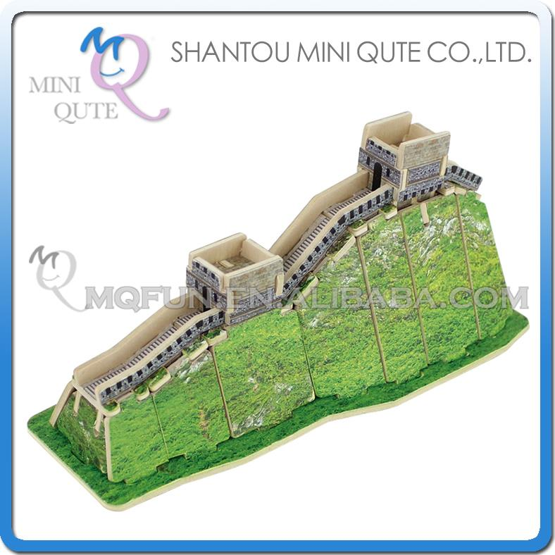 5pcs/lot Mini Qute 3D Wooden Puzzle The Great Wall world architecture famous building kids model educational toys gift NO.MJ209(China (Mainland))