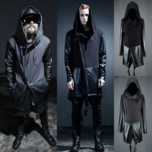 Male men's punk clothing personalized novelty PU sleeves trench irregular cloak costume men's brand stage singer costumes coat(China (Mainland))