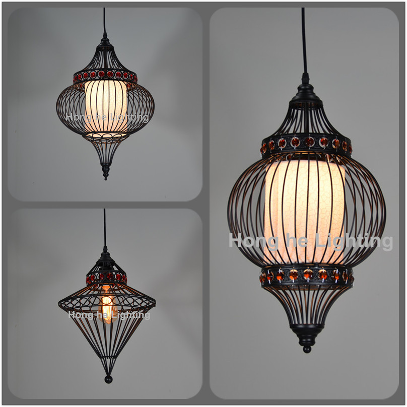 Contemporary and contracted sitting room dining-room corridor balcony lamp artical iron cloth art birdcage chandelier <br><br>Aliexpress