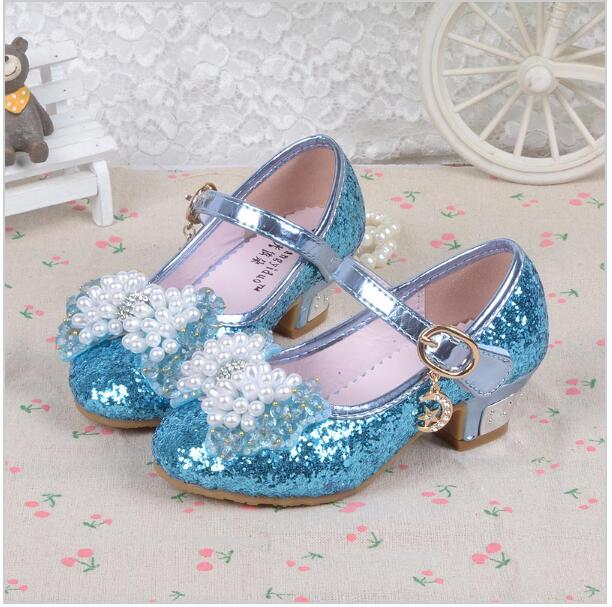 2017 New Snow Queen kids shoes Shiny sequins girls sandals shoes with heels Girl Elsa Princess party shoes
