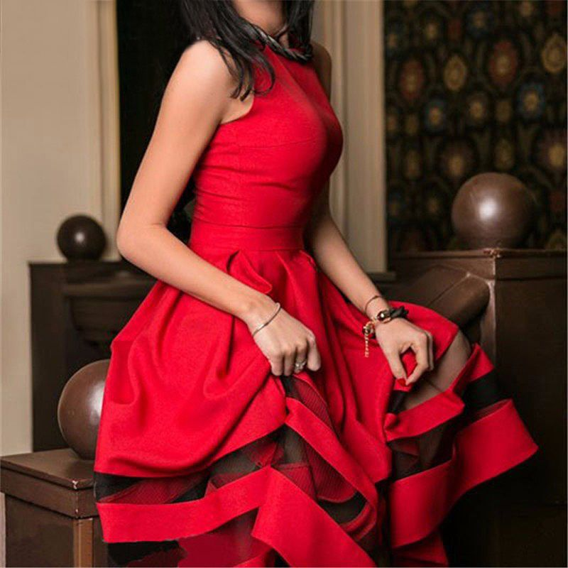 2016 New Style Summer Women Sleeveless Dress Vestidos Sexy Vintage Mesh Patchwork Prom Maxi Dresses WY-01(China (Mainland))