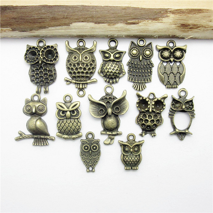 Mix 48PCS (18*10-22*18mm ) Antique Bronze Owl charm pendants fit European bracelet made Pendants for jewelry making(China (Mainland))