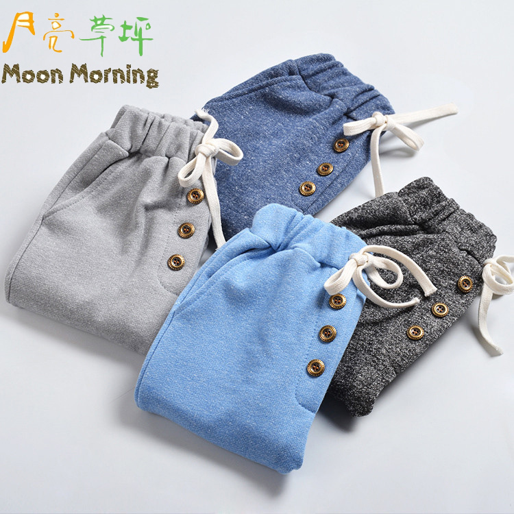 spring autumn,kids pants,boys brand cotton mid solid straight girls unisex button,4 colors,blue gray,casual<br><br>Aliexpress