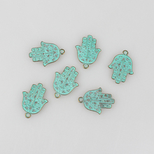 Buy 10pcs/lot 29MM Retro Verdigris Patina Plated Zinc Alloy Green Hamsa Hand Charms Pendants DIY Jewelry Accessories for $2.20 in AliExpress store