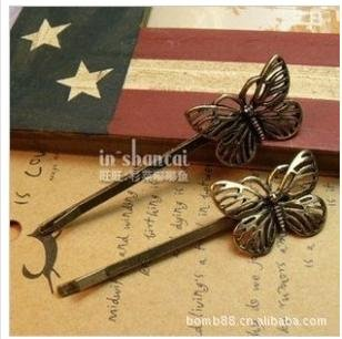 Antique Retro Metal Bronze Corlor Butterfly Hair Clip Hair Accessories A5R23