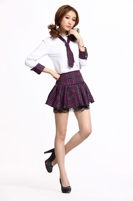 Sailor suit checked dress dress code division college students performance Class serving three color uniform four yards(China (Mainland))