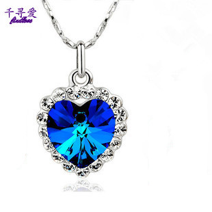 Necklace female necklace crystal necklace heart shaped pendant necklace long design day gift
