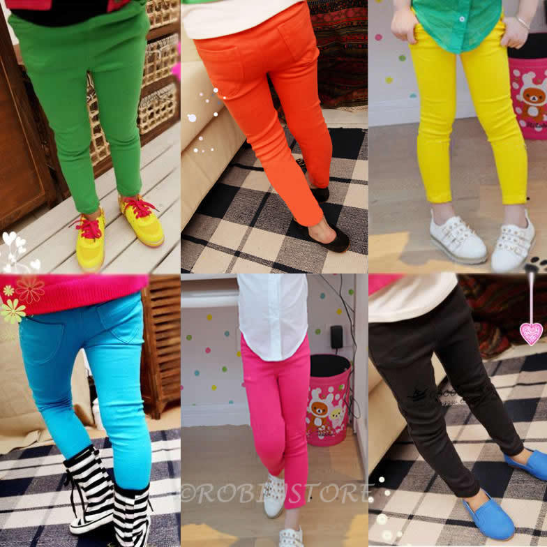2015  New Kid Clothing Hot Girls Jeans Candy Color Skinny Children Pants Girls Baby Casual Long Pants,Kids Trousers Free Shiping(China (Mainland))