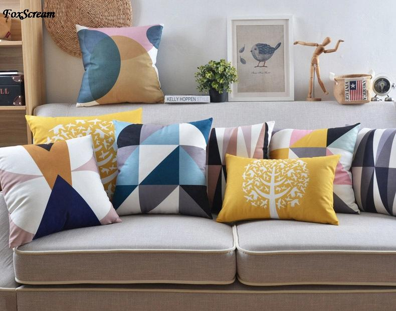nordic home decorative sofa cushions geometry bird tree. Black Bedroom Furniture Sets. Home Design Ideas