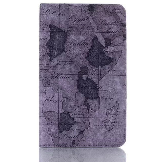 8inch Folio Standing Map of World Pattern PU Leather+Black PC Shell Tablet Cover Case For Samsung Galaxy Tab 4 8.0 T330(China (Mainland))