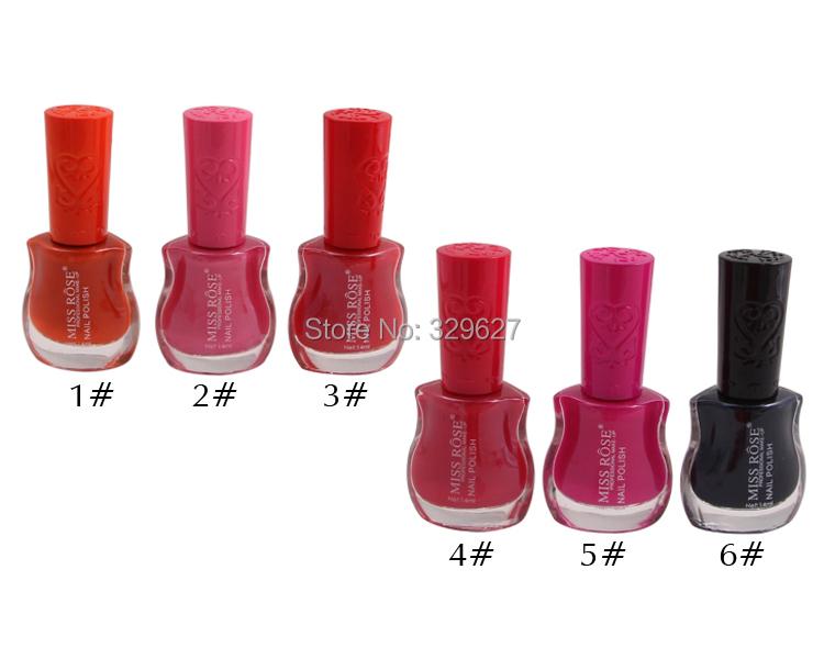 Miss Rose professional 6colors NAIL POLISH gel/enamel matte/base oil/glitter/neon/lacquer makeup 6pc/lot wholesale brand 2014new(China (Mainland))