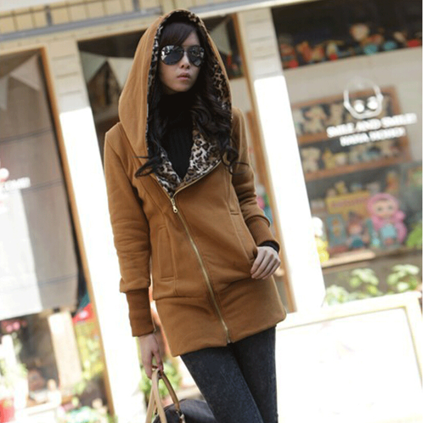 2015 New Designer Fashion Long-Sleeved Hooded Woman Hombre Hoodies, Ms. Leopard Chandal Long Section Sweatshirt Sweatshirt(China (Mainland))
