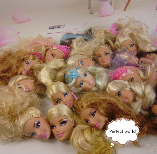 New Arrival Genuine Girls Doll Accessories ,20 pcs (10 pcs Random Send heads+ 10 pcs shoes) for barbie doll(China (Mainland))