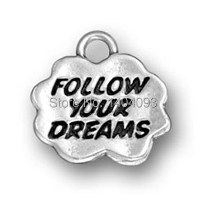 Hot Simple 12 Pcs a lot Zinc Alloy Letter Follow Your Dreams Cloud Charms For DIY(China (Mainland))
