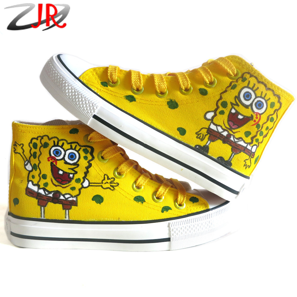 New SpongeBob Expression Style Kids Canvas Shoes for Boys Girls Sneakers 2014 High Hand-painted Shoes Size EU23-36 Free Shipping<br><br>Aliexpress
