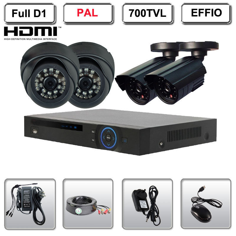 4 Channel Full D1 HDMI DVR Outdoor Indoor 700TVL Home Video Surveillance System<br><br>Aliexpress