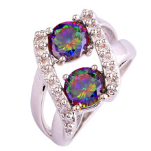 Buy Free multicolor AAA CZ Lab Rainbow CZ Silver Ring Size 6 7 8 9 10 11 12 13 Fashion Jewelry gift wholesale for $4.05 in AliExpress store