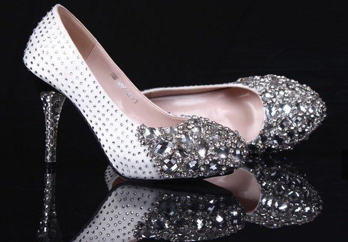 SH013 silver crystals high heel platform pumps,bridal wedding shoes/party/evening shoes - custom make bridal shoes,party shoes,evening store