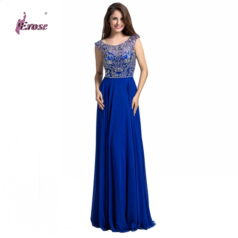 Hot Sale Royal Blue Backless Prom Dresses 2016 A Line Scoop Floor Length Party Dresses Beaded Vestidos De Noche N014(China (Mainland))