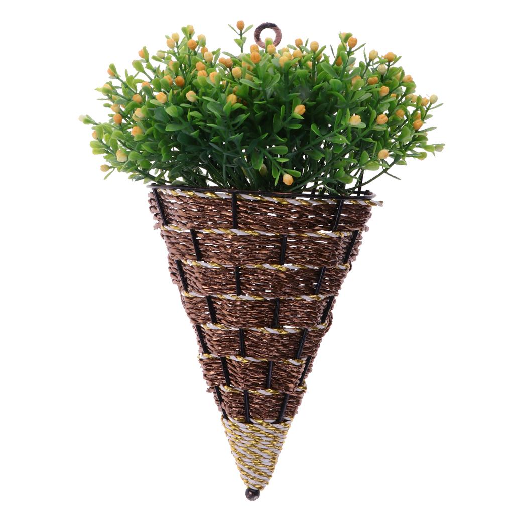 2PCS European Style Wicker Flower Basket Wicker Wall Hanging Flower Pot Vase Planter for Wall Decoration