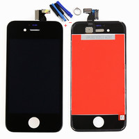 Black For iPhone 4 4G LCD touch screen digtizer assembly with frame free tool replacement free shipping