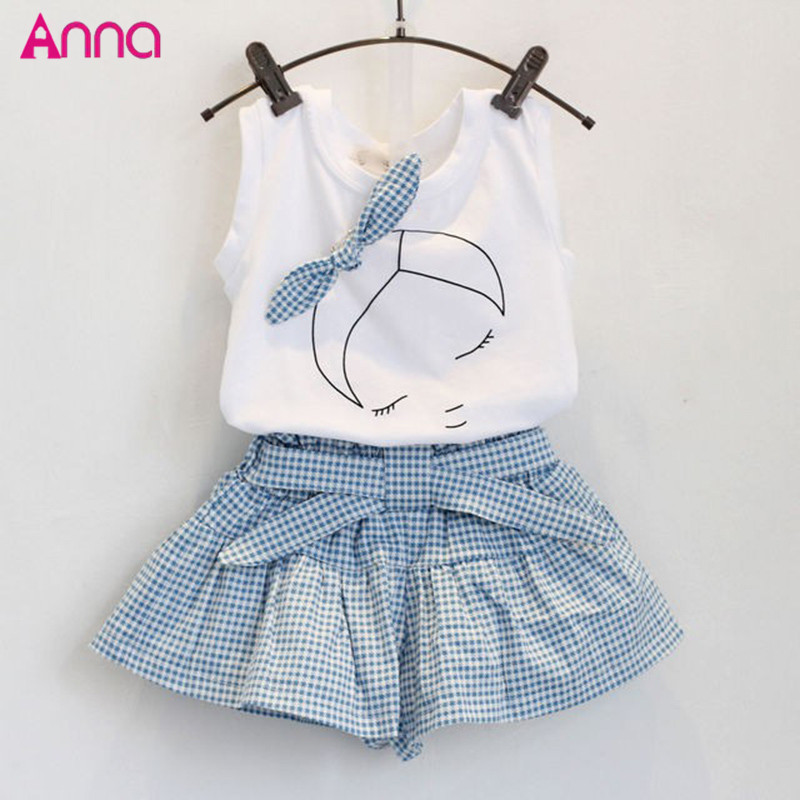 2PCS/1-7Years/Summer Style Baby Girls Clothing Sets Cute Cartoon 100% Cotton Sleeveless T-shirt+Shorts Band Kids Clothes - Anna Baby's store