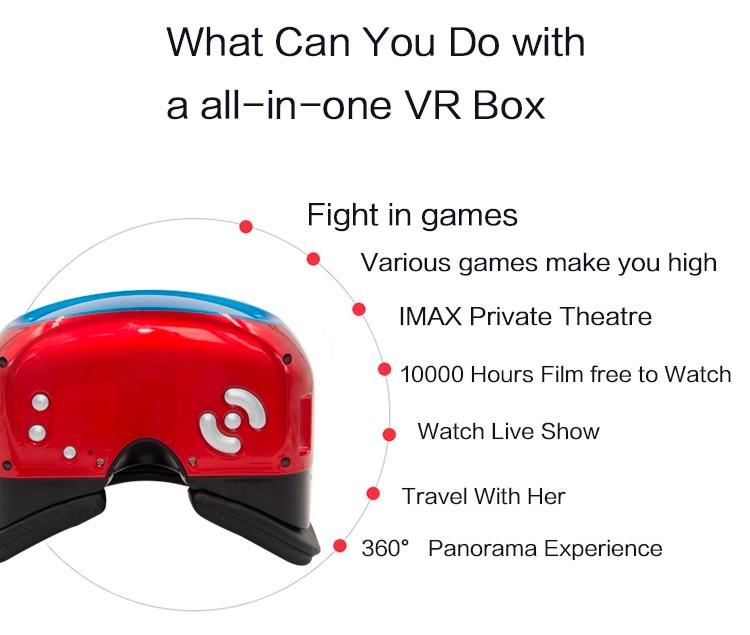 ถูก VRทั้งหมดในหนึ่งเครื่องเสมือนรุ่นระเบิด3Dแก้วสมาร์ทความเป็นจริงสวมใส่VRกล่องandriod 5.1ระบบทั้งหมดในหนึ่งVRกล่อง