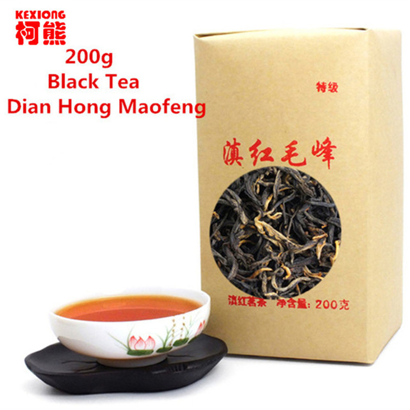 200g Dian hong maofeng tea large congou black tea premium red Chinese mao feng dian hong famous yunnan black tea 200g(China (Mainland))