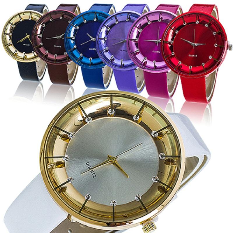 Fashion font b Women s b font Casual Quartz Wrist Watch with Rhinestone Faux Leather Band