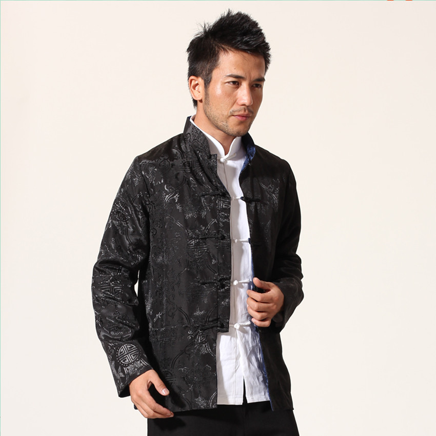Black Navy Blue Chinese Men Satin Jacket Two Sided Kung Fu Coat Mandarin Collar Tang Suit Top Overcoat M L XL XXL XXXL  MN10Одежда и ак�е��уары<br><br><br>Aliexpress