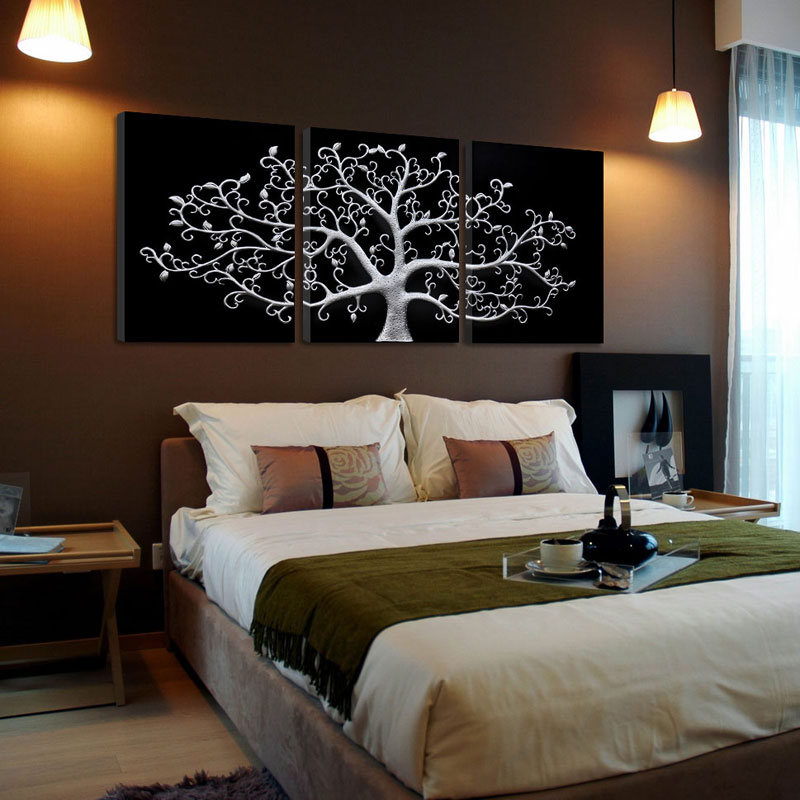 3 piece Abstract Modern black white canvas wall art life tree printed artwork print poster painting on canvas home decorations(China (Mainland))