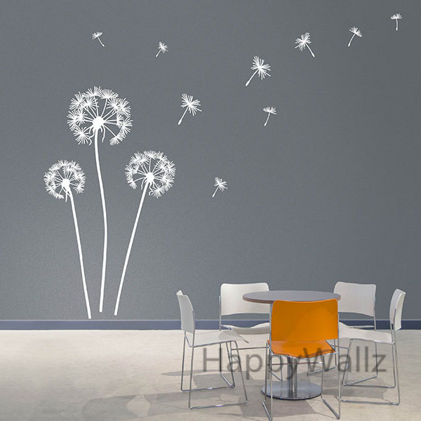 Dandelion Wall Sticker Modern Dandelion Wall Decal 3D DIY Vinyl Wall Decorative Dandelion Wallpaper Hot Sale Free Shipping F59(China (Mainland))