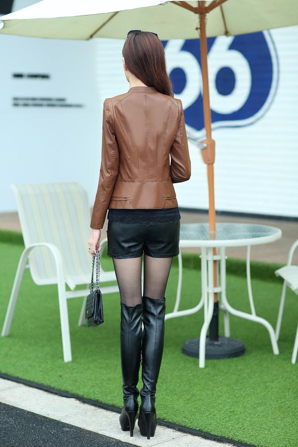 Fashion large size 4XL jackets women leather jacket coat short new 2014 autumn lady's suit women leather blazers coats female