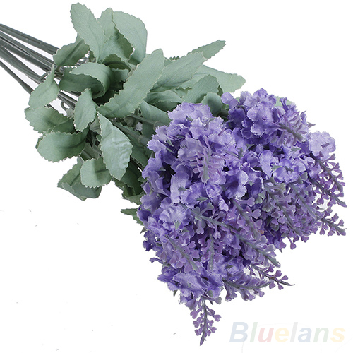 10 Heads Artificial Lavender Silk Flower Bouquet Wedding Home Party Decor for Display 01P1 48DH