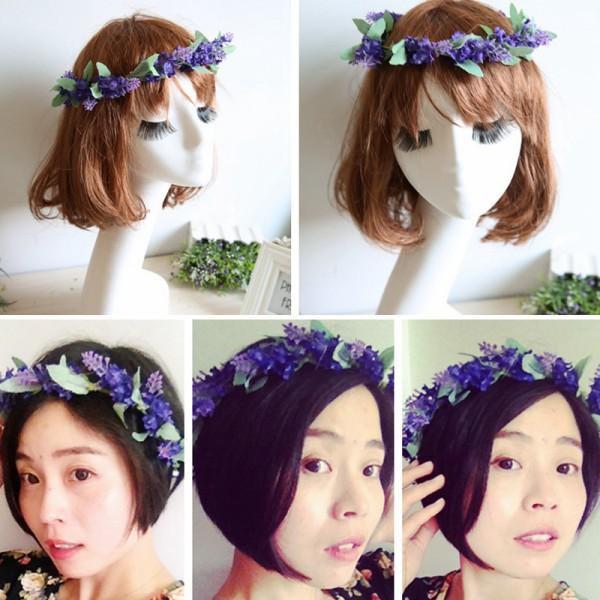 Newest Flower Garland Crown Lavender Headband Hair Band Bridal Festival Holiday Wreath(China (Mainland))