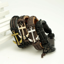 Leather Braided Rope Wristband men bracelets bangles hand-woven Fashion Jewelry
